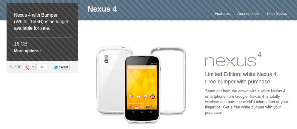 "White Nexus 4 listed as ""no longer available for sale"" in ..."