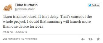 Tweet from Murtazin says that Tizen is close to death
