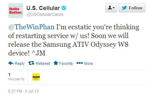 U.S. Cellular will soon be launching the Samsung ATIV Odyssey Windows Phone 8 handset - Tweets from U.S. Cellular confirm Windows Phone 8 model coming this month