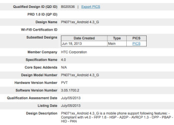 The Google Edition of the HTC One was spotted at the Bluetooth SIG wearing Android 4.3