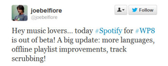 Spotify for Windows Phone 8 finally drops out of beta as a new update rolls out