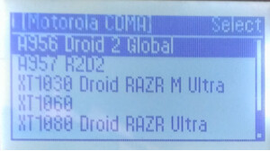 The Motorola DROID RAZR Ultra and Motorola DROID RAZR M Ultra appear on a Cellebrite machine