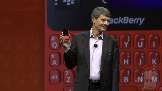 Flashback to May when BlackBerry CEO Thorsten Heins introduced the BlackBerry Q5, in red - U.K.'s Carphone Warehouse now offers the BlackBerry Q5 in red