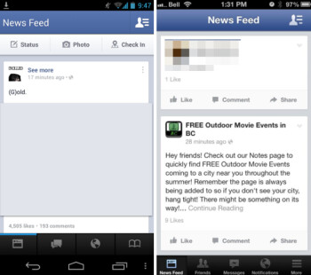 The beta version of the Facebook app with the new navigation bar (L) and the current layout with the side sliding navigation panel