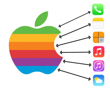 iOS 7 colors may have been inspired by the original Apple logo