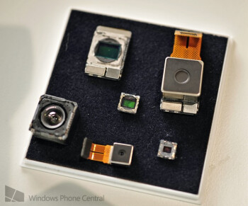 Lumia 1020 camera sensor (top right) dwarfs traditional smartphone cameras.