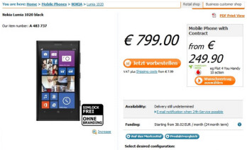 The Nokia Lumia 1020 is available for pre-order in Germany