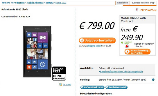 The Nokia Lumia 1020 is available for pre-order in Germany - Nokia Lumia 1020 available for pre-order in Germany