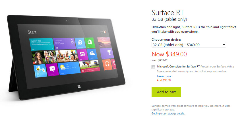 Microsoft Surface RT price cuts now in effect at the ...