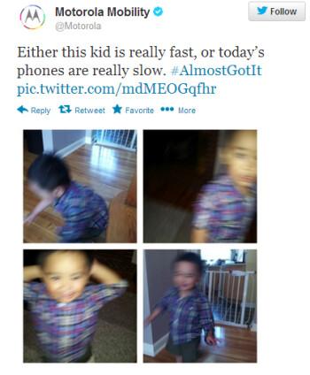 Motorola's tweet hints at a fast shutter for the camera on the Motorola Moto X
