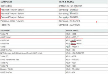 The Samsung Galaxy Note 3 and the next-gen Google Nexus 7 were each certified in Indonesia