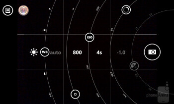 Settings on the Nokia Pro Cam app suitable for light drawing