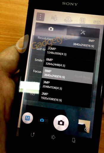 Alleged Sony i1 Honami camera interface shot confirms 20 MP unit