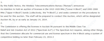Excerpt from the FCC's draft for its auction of H Block spectrum