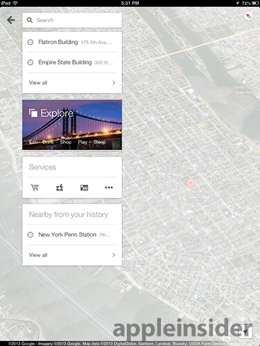 Screenshots from Google Maps for iOS 2.0