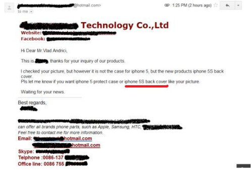 Letters from Chinese shell manufacturer