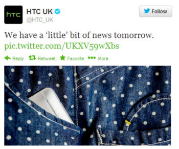 This tweet from HTC UK gives us a hint about the unveiling of the HTC One Mini on Thursday