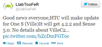 Tweet from HTC insider says that the S4 version of the HTC One S will be updated to Android 4.2.2 after all
