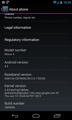 Android 4.3 leaks out for the Nexus 4, tells a story of chance