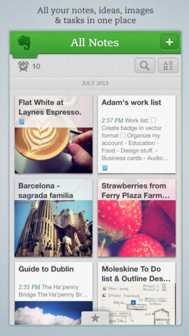 Screenshots from Evernote for iOS