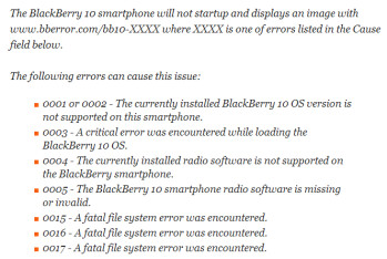 Error messages on BlackBerry 10.2 will help the phone's owner know precisely what the problem is