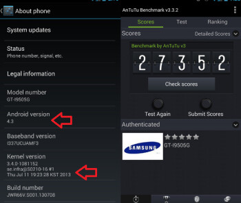 Android 4.3 appears for the Samsung Galaxy S4 Google Play edition