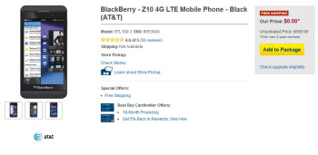 Best Buy cuts the BlackBerry Z10 for AT&T to $0 on contract