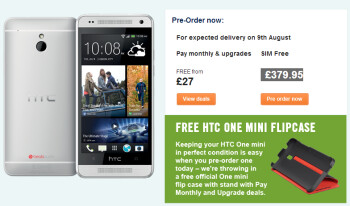 Carphone Warehouse expects pre-orders of the HTC One mini to arrive on August 9th