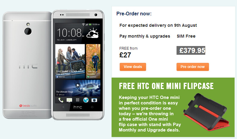 Carphone Warehouse expects pre-orders of the HTC One mini to arrive on August 9th - HTC One mini to launch in U.K. on August 9th