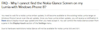 Nokia reveals that there will be no Glance screen for the low-end Nokia Lumia 520 and Nokia Lumia 521 models