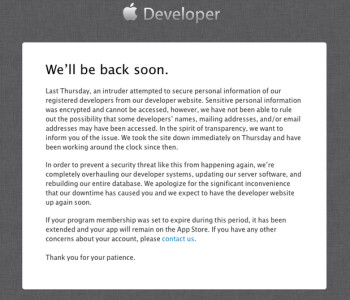 Apple reveals the news about the hacking of its developer site