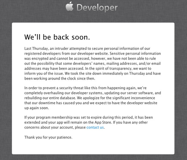 Apple reveals the news about the hacking of its developer site - Apple developer site hacked, sensitive data was encrypted