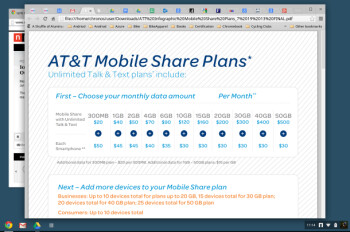 AT&T's Mobile Share service after the new tiers are added