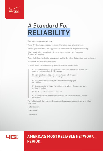 """Verizon to AT&T: reliability isn't """"a hollow claim. Or a slogan."""""""