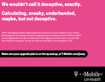 T-Mobile's full page ad in Tuesday's USA Today doesn't mince words