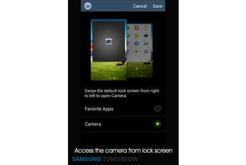 Access the camera from lock screen
