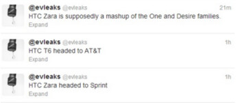 Evleaks tweets out information about the HTC One Max and the HTC Zara