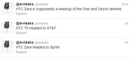 Evleaks tweets out information about the HTC One Max and the HTC Zara - HTC One Max coming to AT&T, HTC Zara to Sprint?