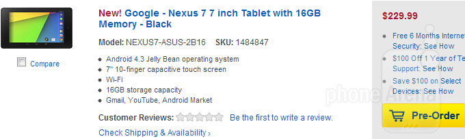 New high-res Google Nexus 7 up for preorder at Best Buy: $230 for 16GB, $270 for 32GB version