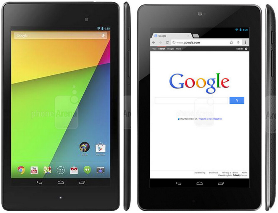 New Google Nexus 7 (left) vs 2012 edition (right) size comparison - Tablets break the 320ppi barrier: new vs old Google Nexus 7 specs and size review