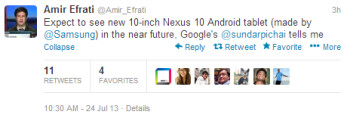 Tweet from reporter Efrati outs the upcoming next-gen Google Nexus 10