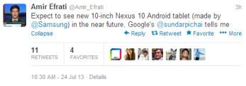 Tweet from reporter Efrati outs the upcoming next-gen Google Nexus 10