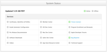 Apple's status screen lets developers see which functions are back up and running on the developers site
