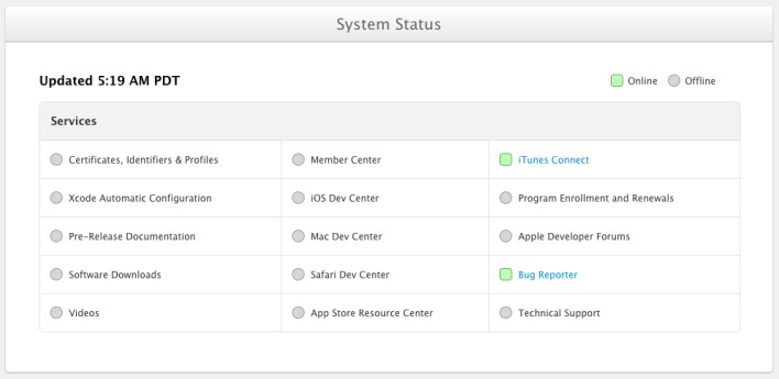Apple's status screen lets developers see which functions are back up and running on the developers site - Apple slowly resumes functionality on its hacked developer site