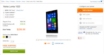 The Nokia Lumia 1020 is now available for purchase online, from AT&T