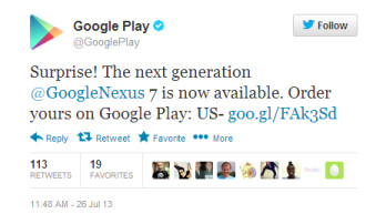 Tweet from Google announces that they are accepting orders for the new Nexus 7