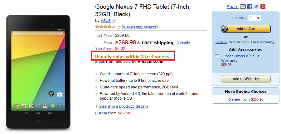 The 32GB new Nexus 7 will now ship in 3 to 4 weeks from Amazon - Google Nexus 7 already sold out at Staples with 32GB model now on 3 to 4 week back order at Amazon