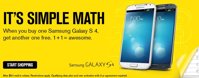 At Sprint, buy one Samsung Galaxy S4 and get a second one for free - Sprint offers BOGO on Samsung Galaxy S4