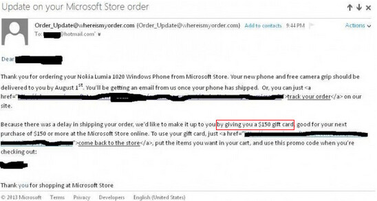 Microsoft is giving $150 gift cards to those whose pre-ordered Nokia Lumia 1020 is delayed - Microsoft apologizes for late delivery of Nokia Lumia 1020 with $150 gift cards