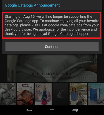 Google is shutting Google Catalogs for iOS and Android on August 15th - Google Catalogs gets put to sleep on August 15th